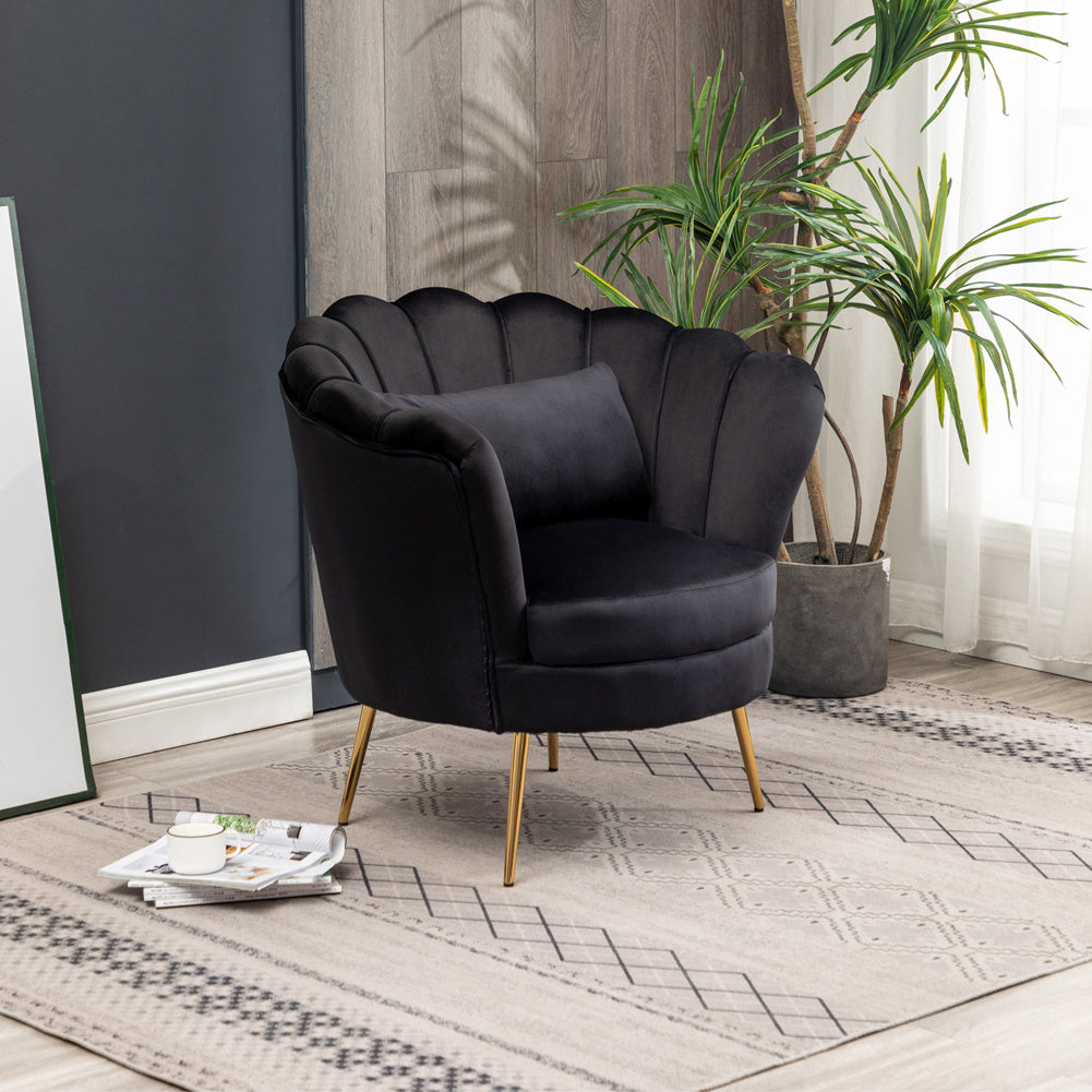 Lotus Velvet Accent Tub Chair Black