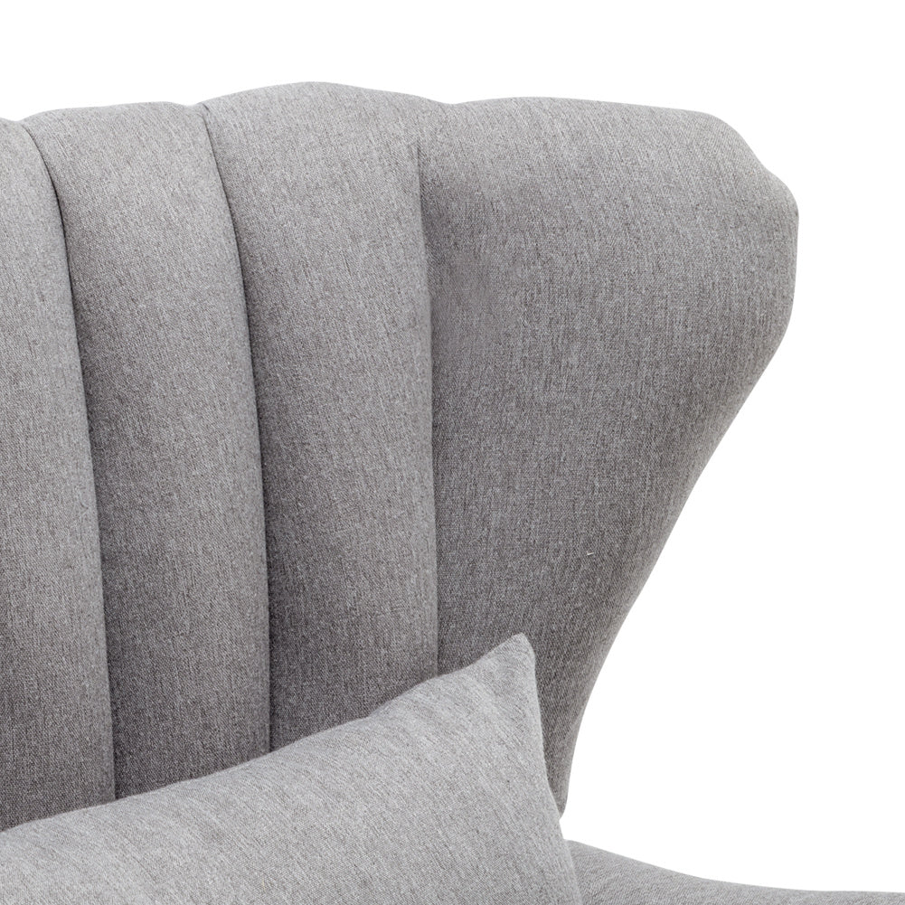 Cocktail Linen Fabric Wing Back Armchair With Footstool