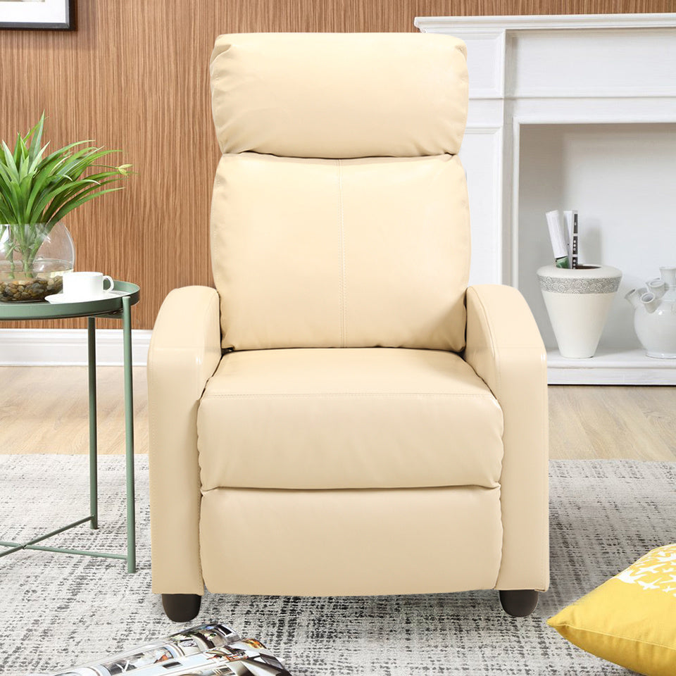 Leather Style Manual Adjustable High Back Recliner Chair