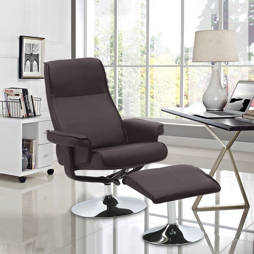 Swivel PU Leather Recliner Armchair Lounge Sofa Reclining Office Seat Game Chair