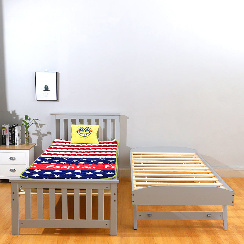 Wooden 3FT Single Bed with Underbed 2 in 1 Pull out Trundle