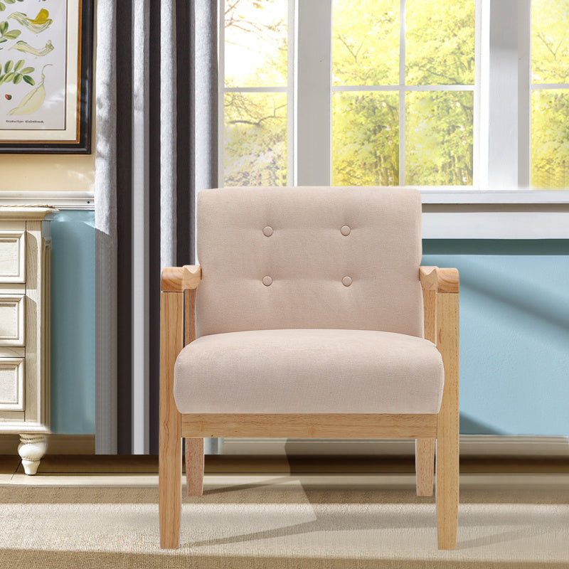 Wood Frame Armchair Upholstery Linen Fabric Accent Chair