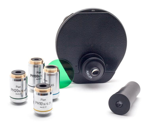 i4 Microscope Infinity Turret Phase Kit: 10x, 20x, 40x, 100x, Brightfield, Darkfield - LabEssentials, Inc.