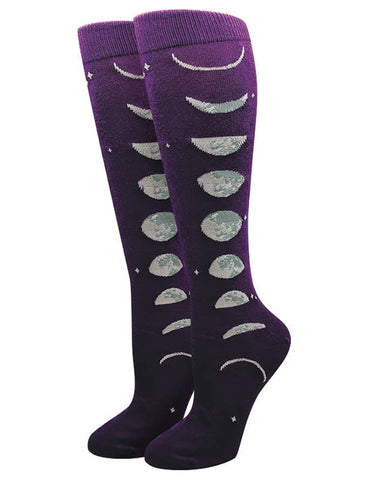 Moon Pattern Knee High Socks