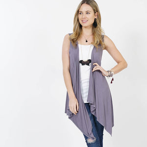 Draping open vest cardigan