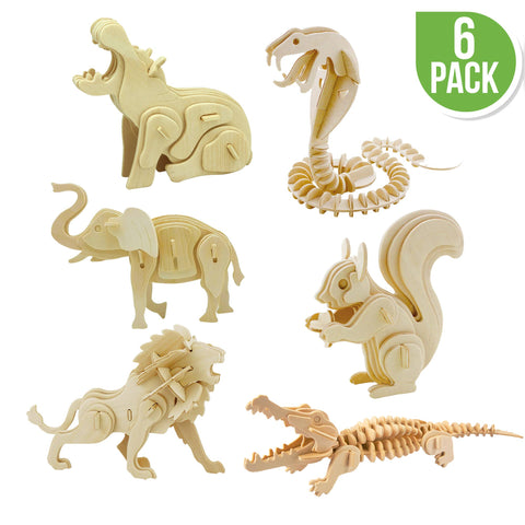 DIY 3D Wooden Puzzle 6 ct, Wild Animals