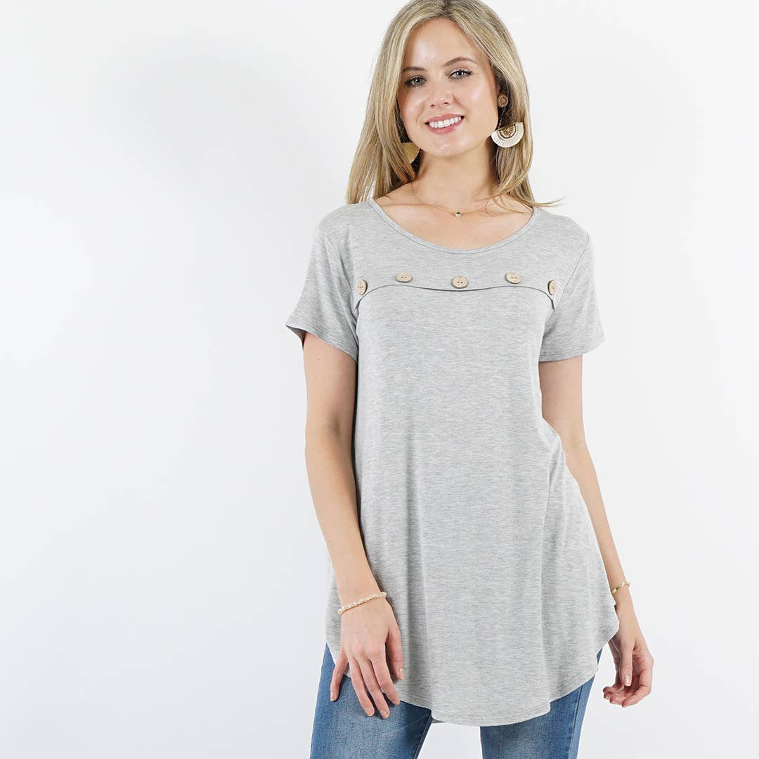 Front Button-Accent Curved-hem Tunic