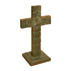 Starburst Carved Wood Table Cross