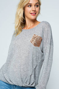 SALE - CASUAL KNIT SWEATER TOP SEQUINS POCKET- T1728GR