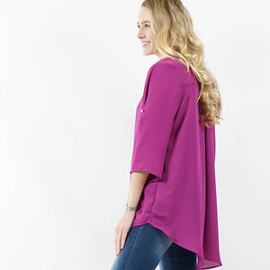 Fold-over sleeve notch neck hi-low blouse