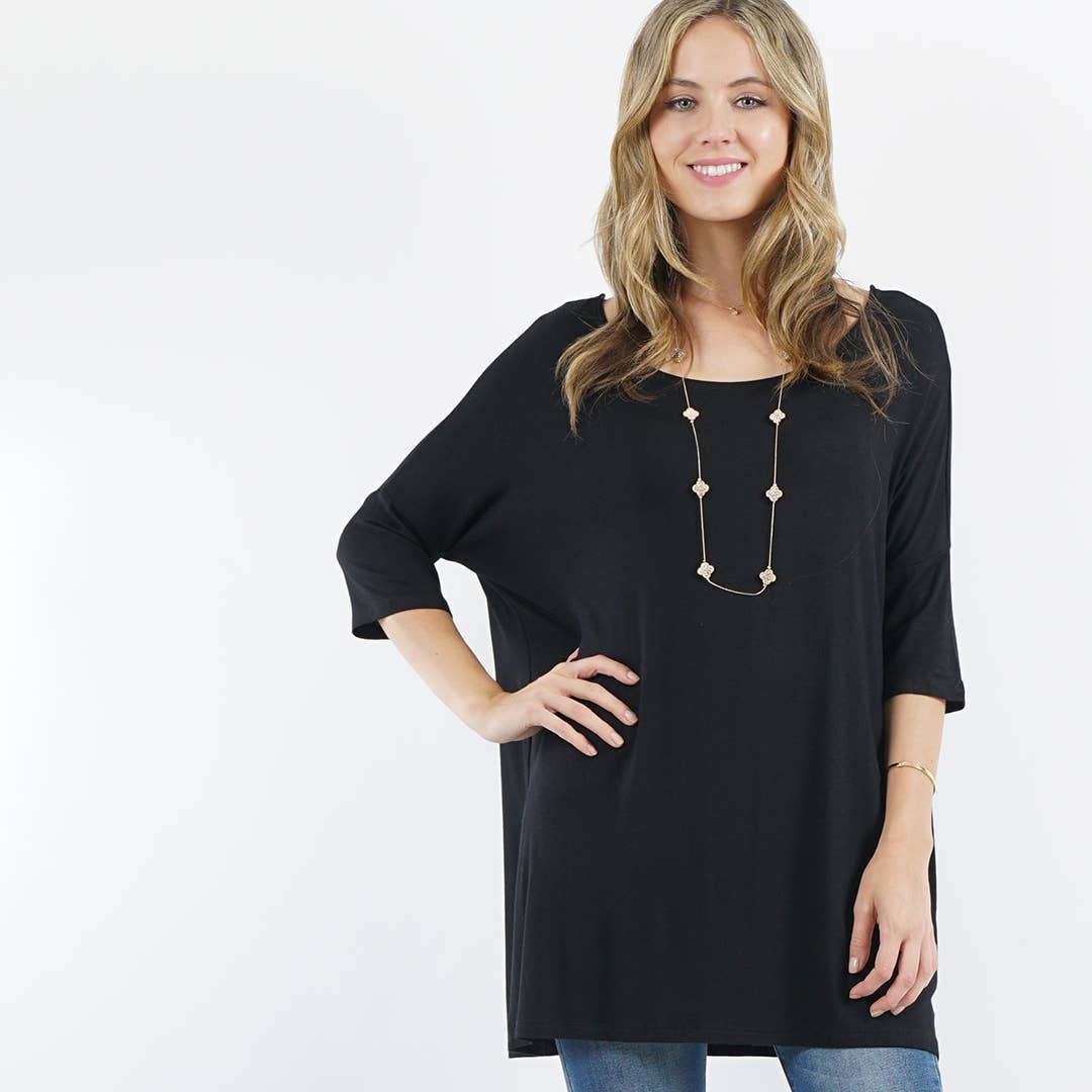 Elbow sleeve round-neck tunic