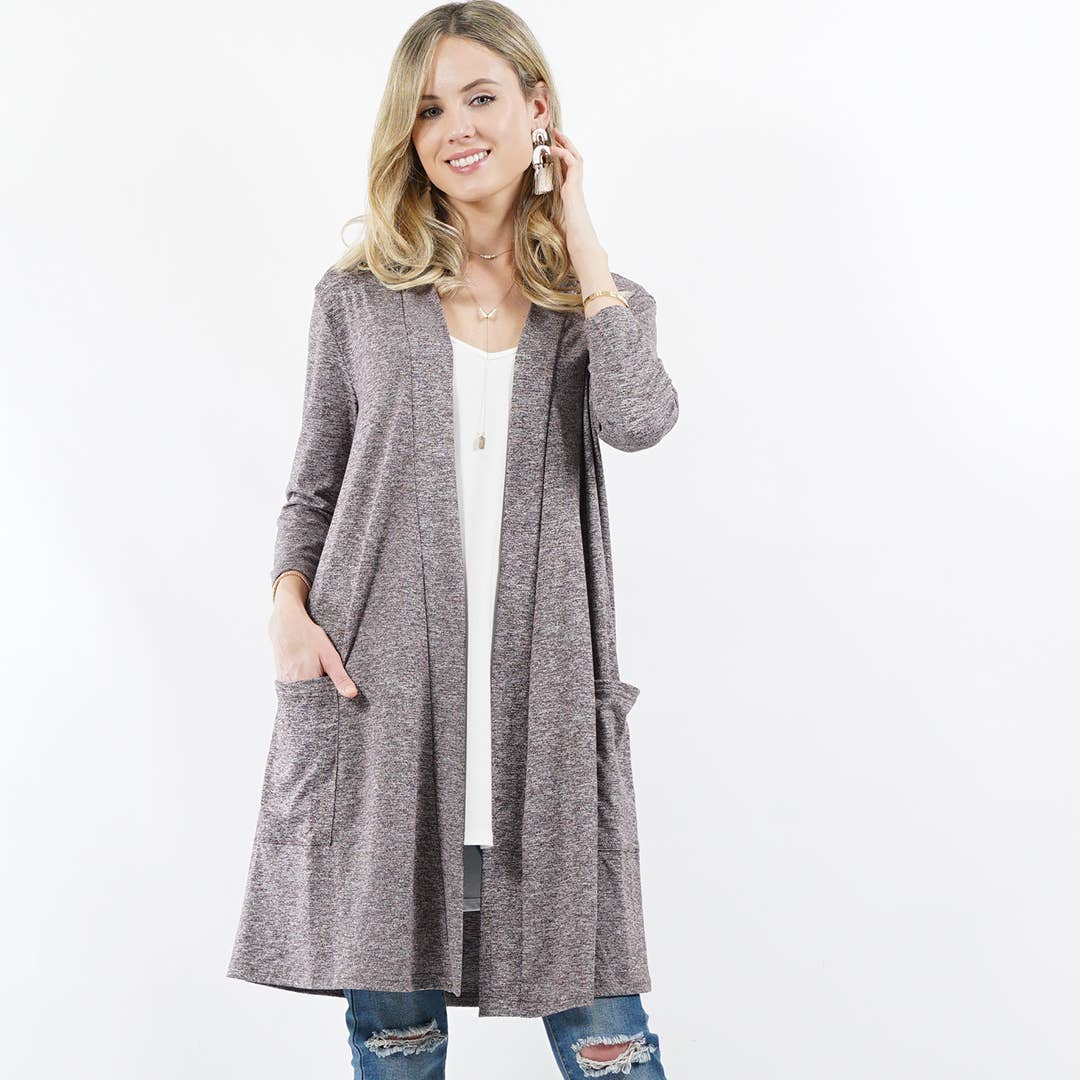 3/4 Sleeve Slouchy-Pocket Open Cardigan