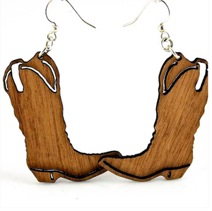 Cowboy Boot - Wood Earrings