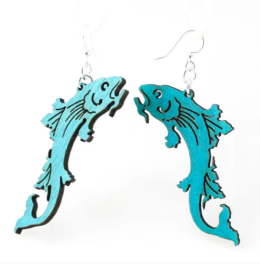 Koi Fish - Wood Earrings