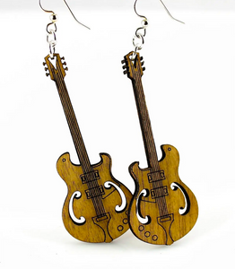 Guitar - Wood Earrings