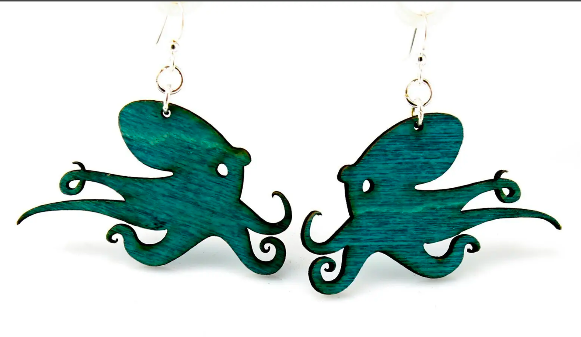 Octopus - Wood Earrings