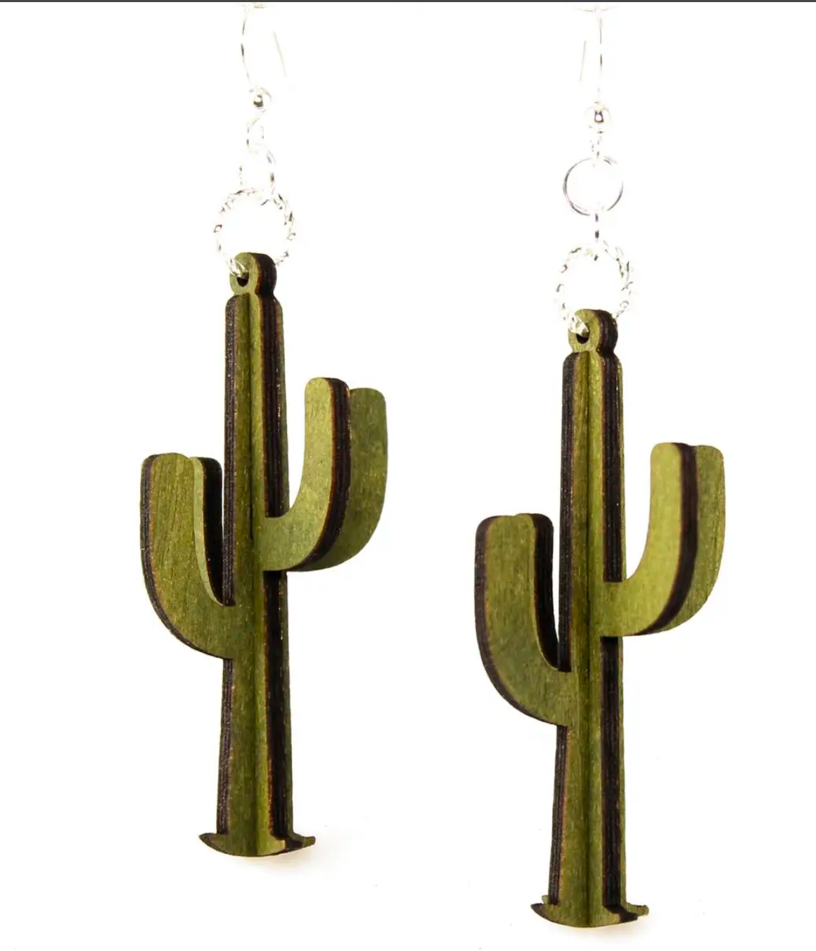 WOOD EARRINGS | 3D Cacti