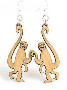 Monkey - Wood Earrings