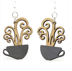 Coffee Cup - Wood Earrings