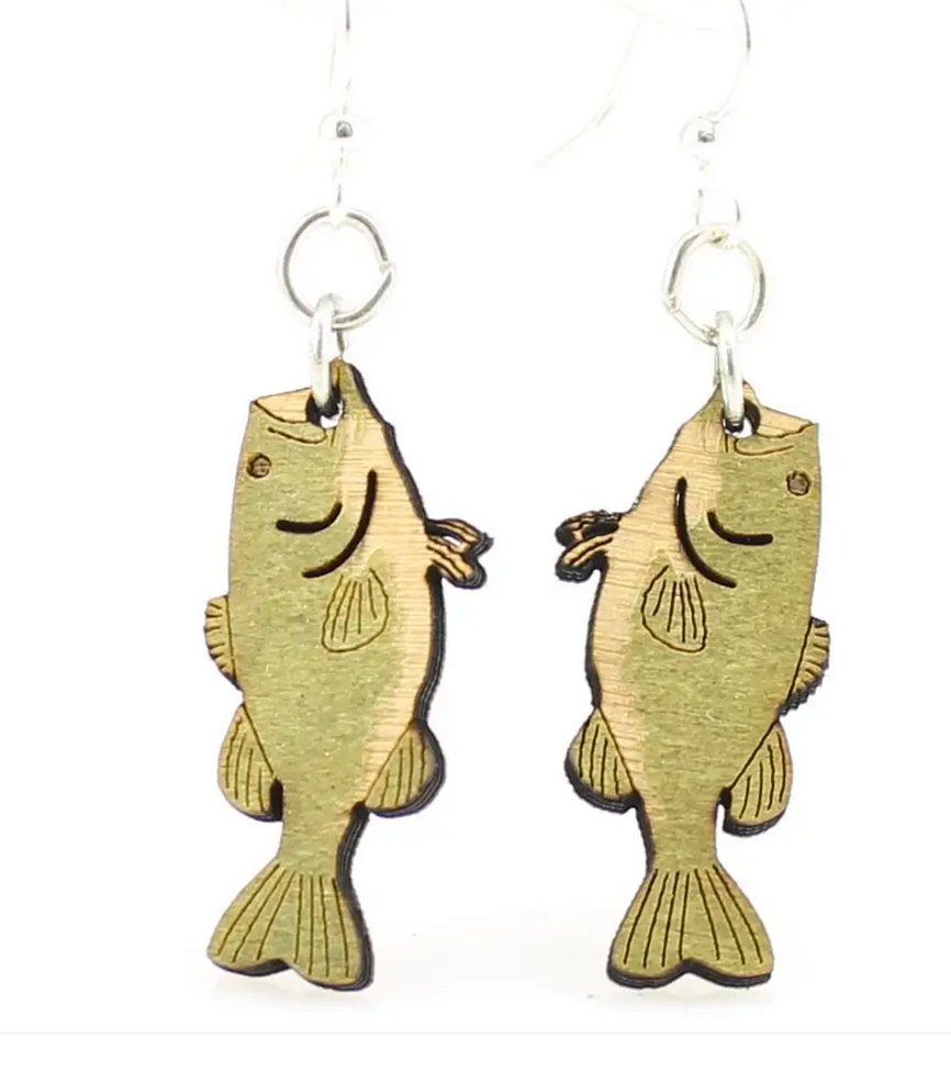 Bass Fish - Wood Earrings