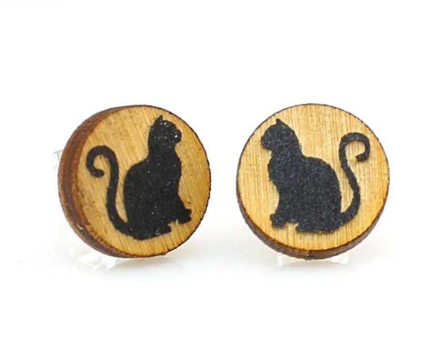 WOOD EARRINGS | Black Cat Studs