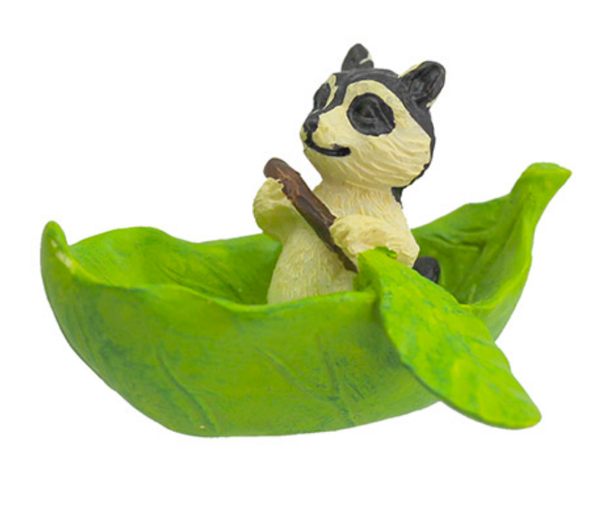 Rowing Raccoon Statue