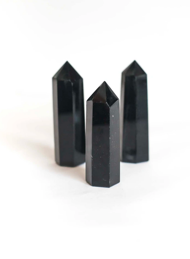 CRYSTAL POINT | black obsidian