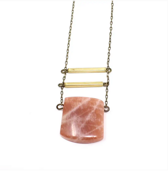 JEWELRY | peach moonstone eliza necklace