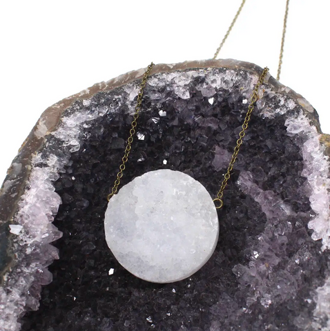 JEWELRY | white druzy rima necklace