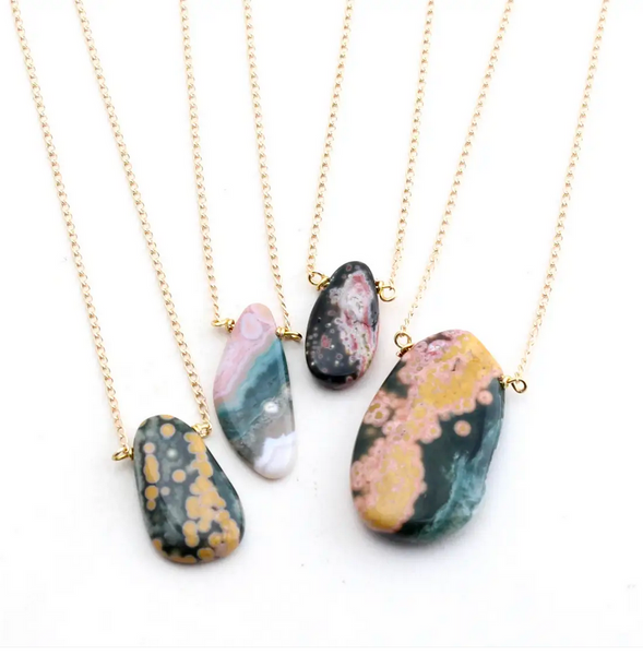 JEWELRY | ocean jasper raw short necklace