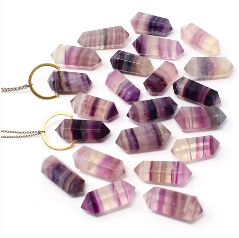 JEWELRY | double terminated rainbow fluorite necklace