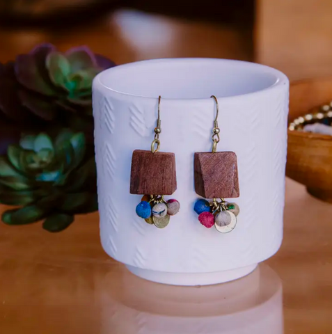 JEWELRY | sari silk + wood upcycled earrings