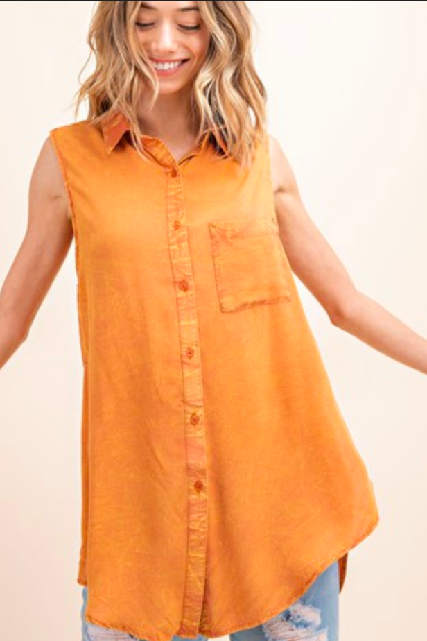 APPAREL | stone-washed persimmon top