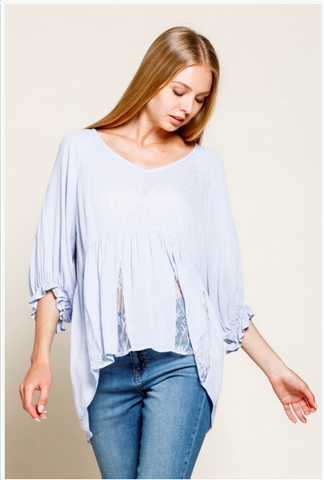 APPAREL | powder blue lacey peasant top