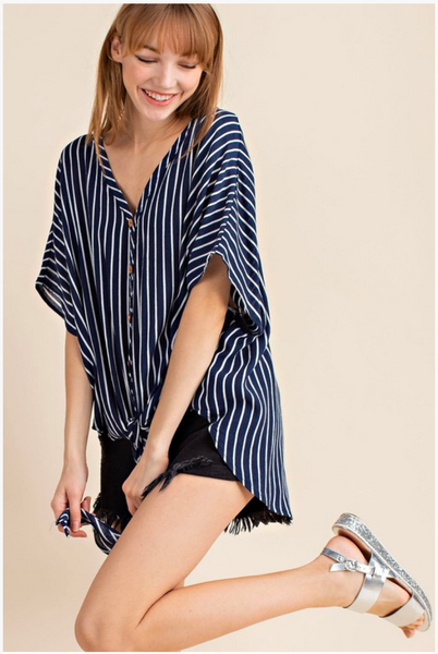 APPAREL | nautical navy tie-front top
