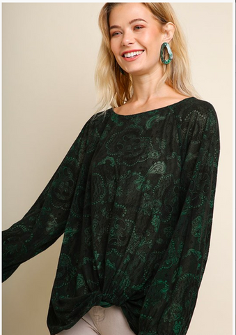 APPAREL | paisley forest burnt velvet top