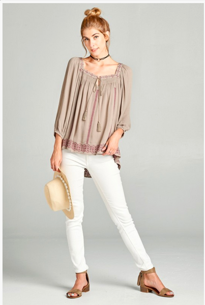 APPAREL | taupe tassel-tie top