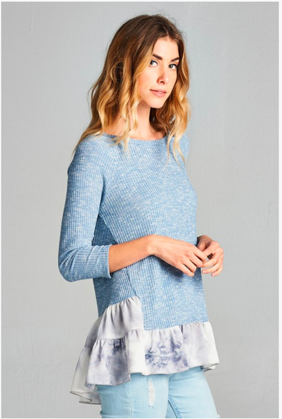 APPAREL | indigo blue tie dye bubble crepe top