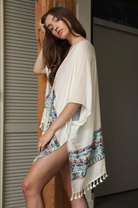 APPAREL | geometric embroidered + tasseled kimono