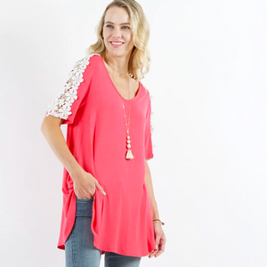 APPAREL | coral hibiscus flower power crochet sleeve top