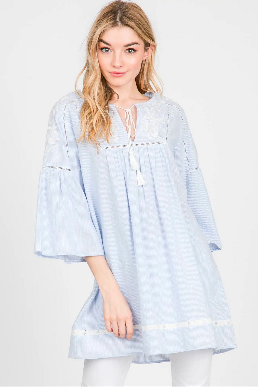 APPAREL | tasseled + embroidered seersucker tunic