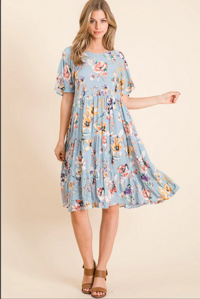 APPAREL | blue skies and wild flowers dress