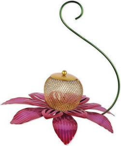 Pink Flower Hanging Bird Feeder
