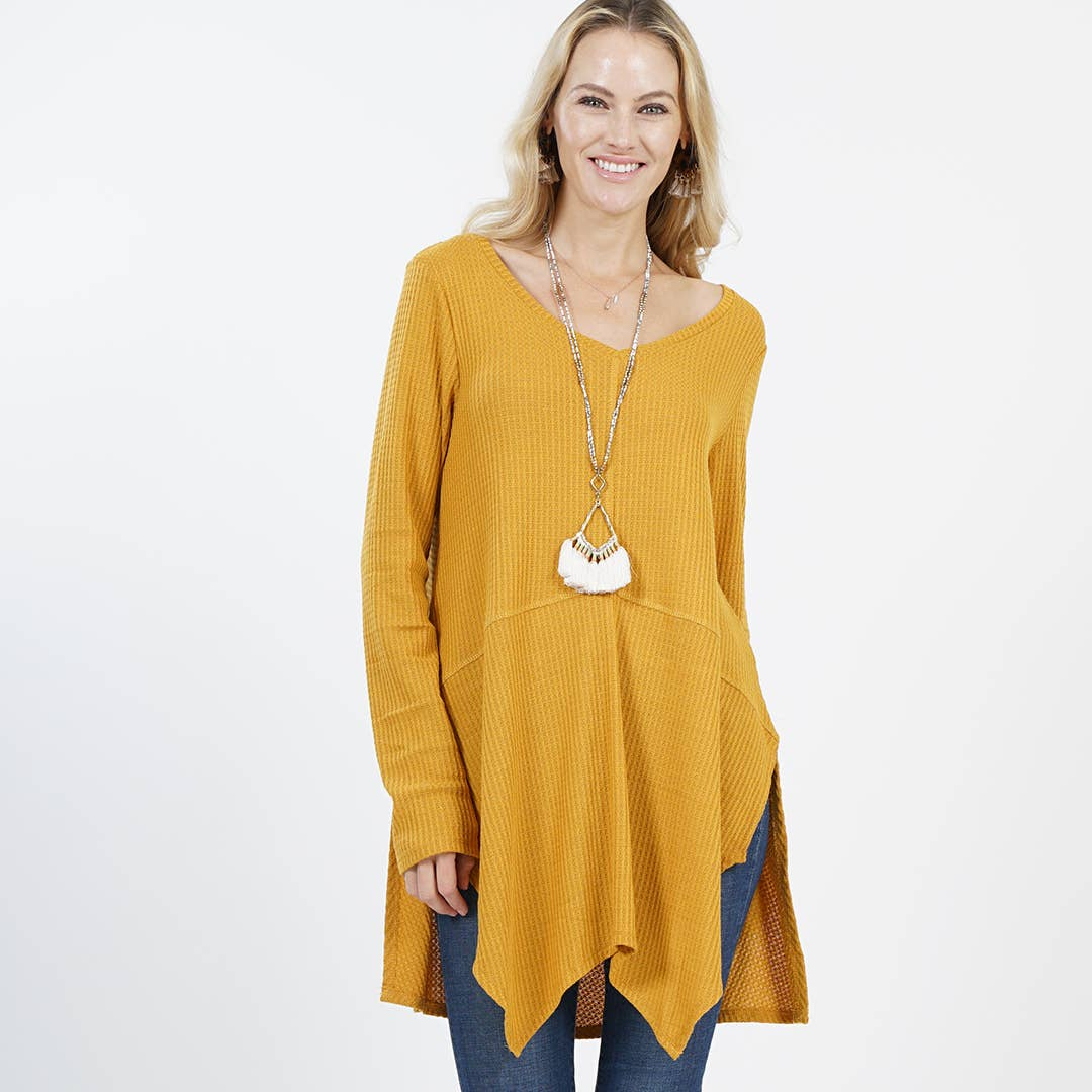 Handkerchief brushed waffle lightweight sweater tunic