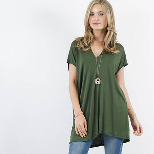 V-neck loose fit tunic