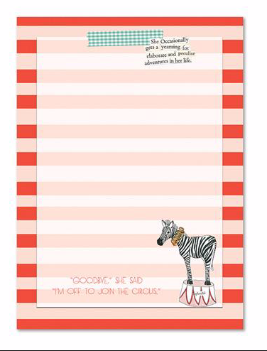 Circus Notepad by Curly Girl Designs