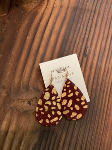 EARRINGS | burgundy leopard earrings