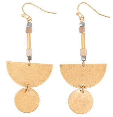 JEWELRY | gold moon + disc earrings