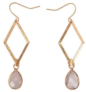JEWELRY | gold diamond + rose quartz earrings