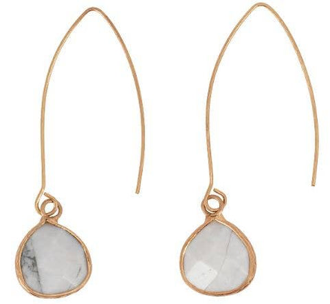 JEWELRY | gold hook + howlite teardrop